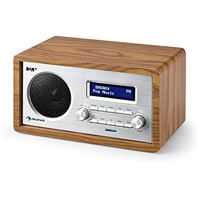 AUNA Harmonica DAB Retro Edition  Digital Radio  Radio Alarm Clock  Nostalgic Look  DAB  FM Radio  Automatic Manual Station Search  LCD Display  RDS Function  Date Time Display  Brown