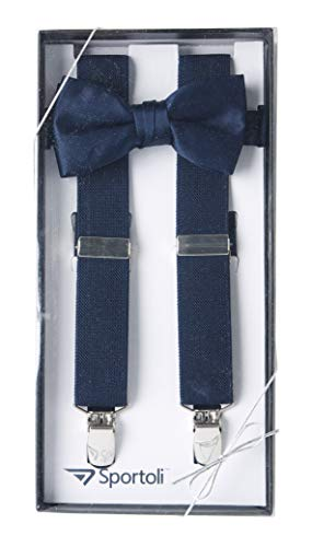 Suspenders for Kids Gift Set Wedding Tuxedo Genuine Leather Premium 1 Inch Suspender -Navy (22 Inch) ()