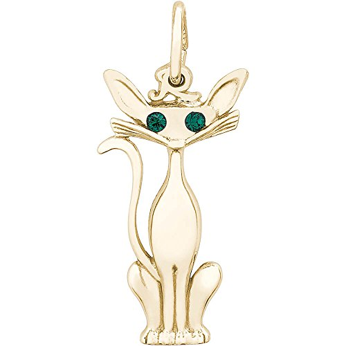 Rembrandt Charms Cat Charm, 14K Yellow Gold (Gold Charm Cat Yellow)