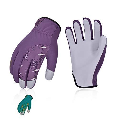 Ladies Goatskin Leather - Vgo 2Pairs Ladies' Goatskin Leather Gardening Gloves(Size S,Blue&Purple,GA7454)