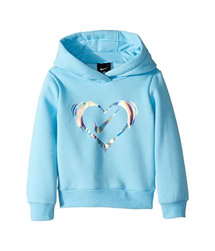Nike Kids Baby Girl's Iridescent Heart Fleece Pullover (Toddler) Blue Chill 2T Toddler