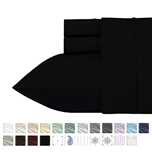 (California Design Den 400 Thread Count 100% Cotton Sheet Set, Black Queen Sheet Sets 4 Piece, Long-Staple Combed Pure Natural Cotton Bedsheets for Bed, Soft & Best Quality Sateen Weave)