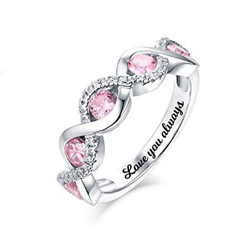brcx Mothers Rings with 5 Birthstones Personalized Sterling Silver Grandmother Ring for Family(Silver-Plated-Base-7.5) ()