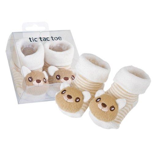 Tic Tac Toe 3-D Bear Infant Bootie, Tan, 0-6 Months