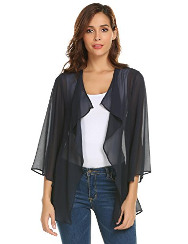 Pinspark Women's Sheer Bolero Shrug Shawl Chiffon Thin Cardigan (L, Navy (Sheer Bolero)