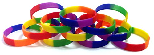 TheAwristocrat 1 Dozen Multi-Pack Rainbow Wristbands Bracelets Silicone Rubber - Select from a Variety of Colors (Rainbow, Youth (7