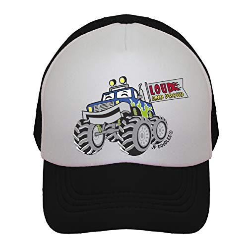 (Monster Truck on Kids Trucker Hat. The Kids Baseball Cap is Available in Baby, Toddler, and Youth Sizes. (Kiddo 2-5 Yrs, Black))
