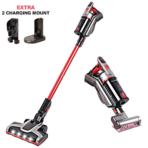 MATELOS Cordless Vacuum Cleaner, Stick and Handheld Vacuum with Extra Mite Brush & 2 Charging Mount Powerful Suction Rechargeable 2 in 1 Electric Brooms