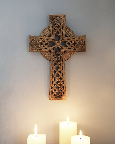 Wooden Celtic Wall Cross Hanging French Religious Plaque for Living Room Home Decor