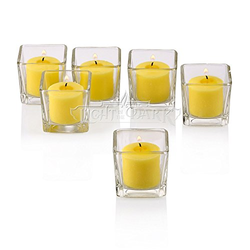 Light In the Dark Clear Glass Square Votive Candle Holders With Citronella Yellow votive candles Burn 10 Hours Set of 12