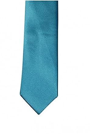 Corbata Tejido efecto satén de algodón, color turquesa y ...