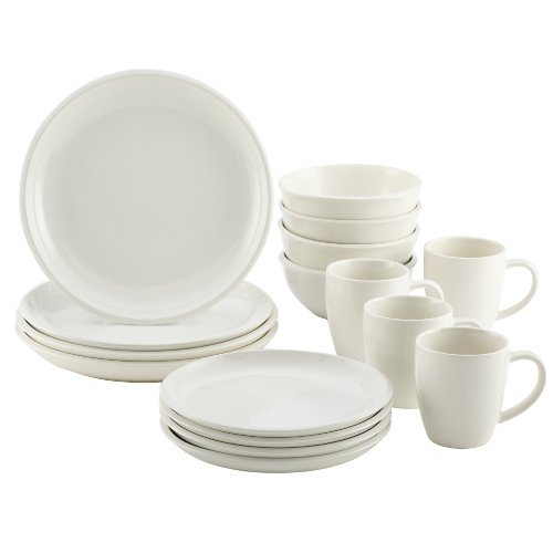 Rachael Ray Rise Stoneware 16-Piece Dinnerware Set, White