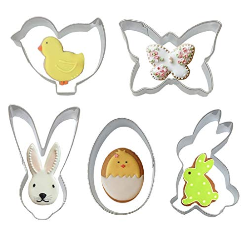 5pcs Easter Cookie Cutters, Stainless Steel Non-stick Mini Biscuit Fondant Molds with Rabbit Chick Easter Egg Butterfly for Kids Adults Baking