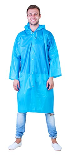 Amazing Waterproof Rain Poncho: Reusable Non-disposable Raincoat with Drawstring Hood and Sleeves in a Blue color for Adults. Ideal for Travel Men and Women by Anderlexer
