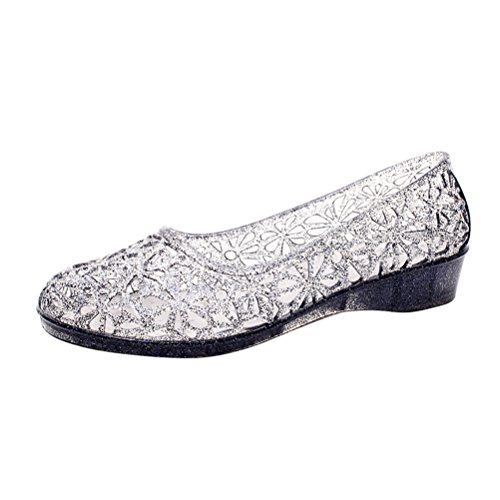 OMGard Womens Hollow Glitter Crystal Ballet Flat Jelly Shoes Sandals Color Black Size 8.5