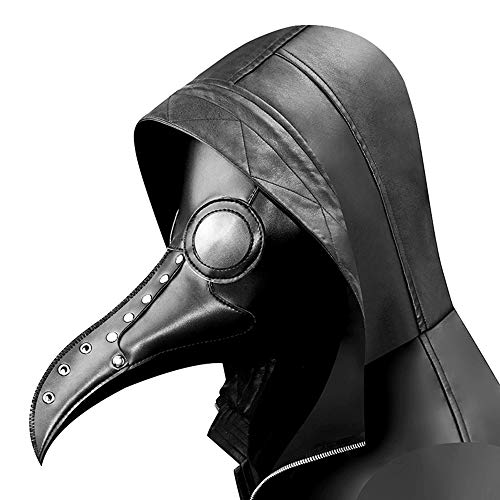 YOUTH UNION Steampunk Plague Doctor Bird Mask Long Nose Beak Cosplay Halloween Costume Props (Style 1) Black