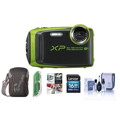 Fujifilm FinePix XP120 16.4MP Digital Camera, 5x Optical Zoom, Green – Bundle With 16GB SDHC Card, Camera Case, Cleaning Kit, Card Reader, Pc Software Package