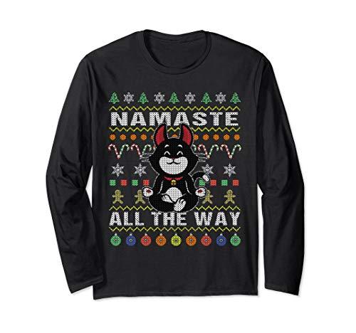 Black Cat Namaste Ugly Christmas Long Sleeve Shirt