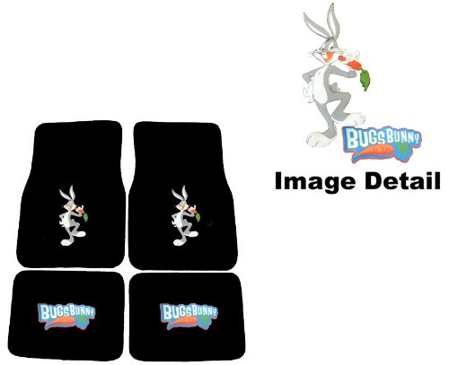 Warner Brothers Bugs Bunny Carpet Floor Mats for Car - Universal Fit, Looney Tunes Cartoon Design Auto Accessories