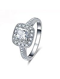 18k White Gold Gp Austria Swarovski Crystal Lady Bridal Wedding Engagement Ring R9