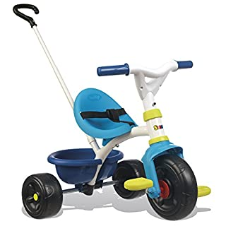 Smoby Blue 2-in-1 Push Along Trike with Parent Handle and Kids Forst Tricycle - Bright and Colourful Design with Safe and Secure Design - Ages 15 Months+