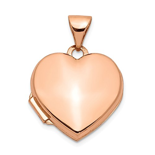 14k Rose Gold 15mm Heart Photo Pendant Charm Locket Chain Necklace That Holds Pictures Fine Jewelry For Women Gift Set