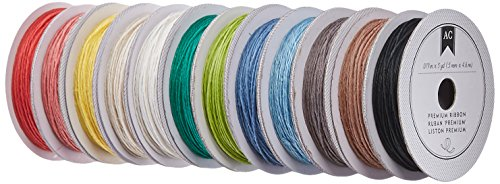 American Crafts Value Pack Hemp Twine, 5-Yard, 12-Basic Colors, 24-Pack]()