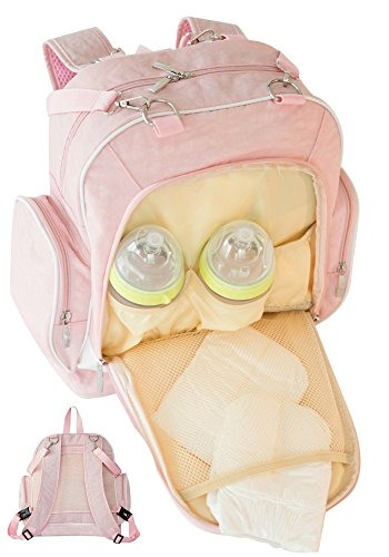 YZ Generations Stylish Waterproof Travel Baby Diaper Bag Backpack w/ Stroller Straps, Pink (Happy Chic Nina)