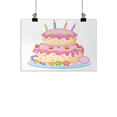 Anzhutwelve Kids Birthday Art Oil Paintings Pastel Colored Birthday Party Cake with Candles and Candies Celebration Image Canvas Prints for Home Decorations Light Pink 35