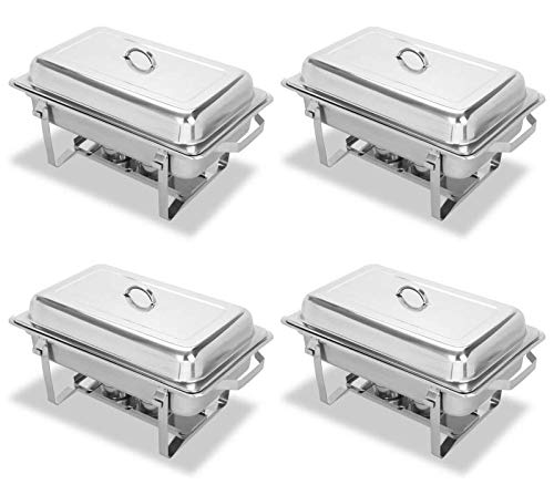 Chafing Dish Sets 9-qt Lift-off Covers Dome Buffet Server Warming Tray Stainless Steel Rectangular Chafer Foldable Flame 4 Packs ()