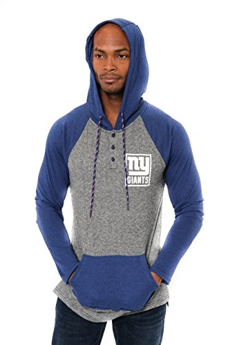 ICER Brands Adult Men Fleece Hoodie Pullover Sweatshirt Henley, Team Color, Blue, Small ()