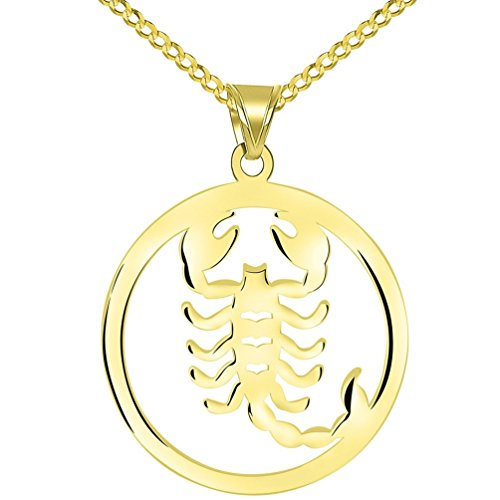 Scorpion Symbol - Solid 14k Yellow Gold Round Scorpio Zodiac Symbol Cut-Out Scorpion Pendant with Cuban Chain Necklace, 22