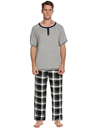 Ekouaer Classical Sleepwear,Men's Helney Neck 2 Piece Loung Pajama Set(Grey,X-L)