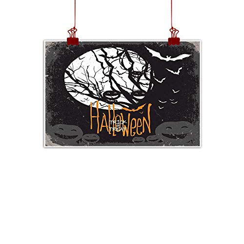 Sunset glow Canvas Prints Wall Decor Art Vintage Halloween,Halloween Themed Image with Full Moon and Jack o Lanterns on a Tree,Black White 20