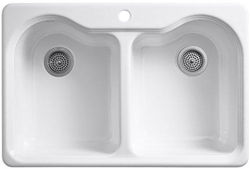 KOHLER K-5818-1-0 Hartland Self-Rimming Kitchen Sink with Single-Hole Faucet Drilling, White