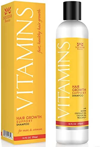 Nourish Beaute Vitamins Shampoo for Hair Loss that Promotes Hair Regrowth, Volume and Thickening with Biotin, DHT Blockers, Antioxidants, Oils and Extracts, For Men and Women, 1 10 Ounce Bottle