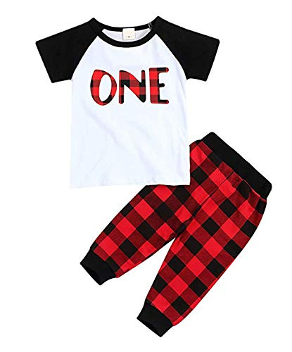 (Infant Baby 1st Birthday Outfits Short Sleeve T-Shirt Red Plaid Pant Clothes Set)