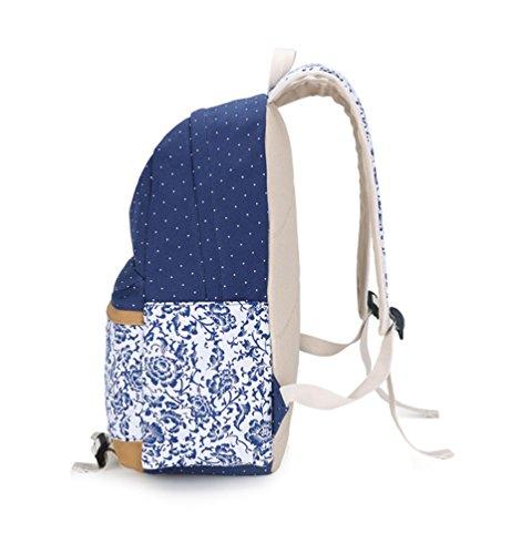 Tela Blu Canapa Portafoglio Backpack Laptop School Unisex Zaino di 3 Crossbody Set Della Borsa WanYang Backpack Zaffiro Collegio Pezzi xnBTWOEnp