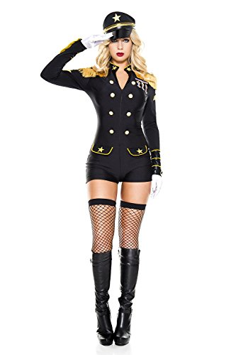 3 PC. Ladies Military General Romper Costume Set - X-Small - Black/Gold - Army General Womens Costume