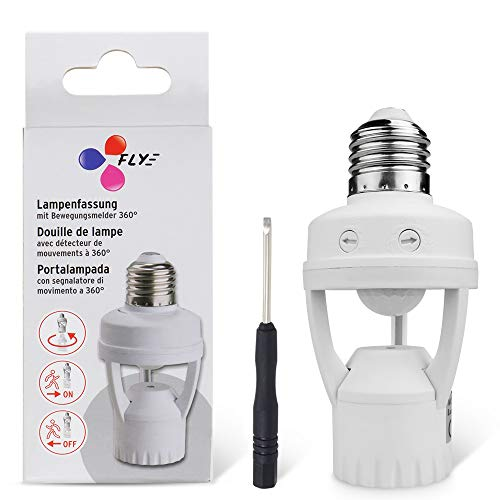 8T8 Motion Sensor Light Socket, PIR Motion E26 Screw Bulb Adapter, Adjustable Auto On/Off Night Light Control Smart sensor bulb adapter for Storage Room, garage light (Sensor Adapter_E26) ()