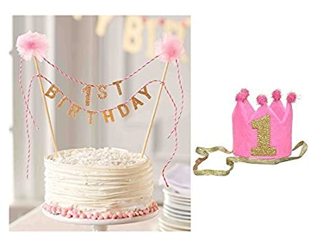 Mud Pie First Birthday Cake Topper With Girls 1st Crown Headband Bundle By Amazoncouk Kitchen Home