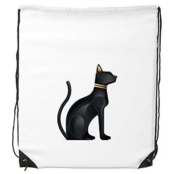 Antiguo Egipto abstracto decorativo patrón sacrificio arte figura de Bastet de gato negro patrón cordón mochila líneas finas Shopping creativa medio ...