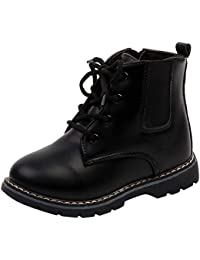 Kehen Fashion Boy Girl Combat Shoes Ankle Boots Floral British Style Martin Boots Kids Warm Snow Boots