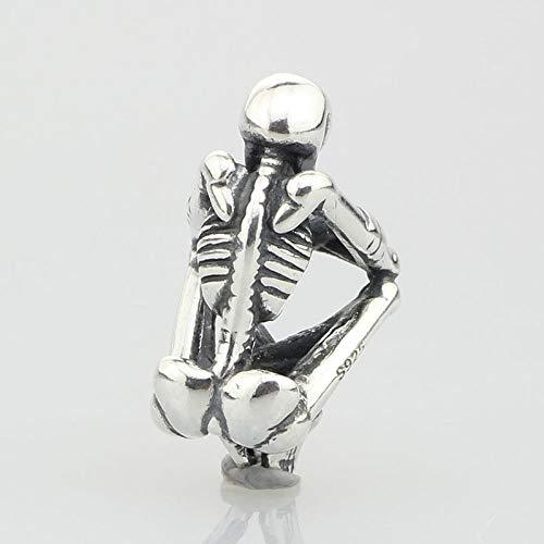 Calvas Genuine 925 Sterling Silver Skeleton Spirit Charm Bead Fits European Troll 3.0mm Bracelet Jewelry