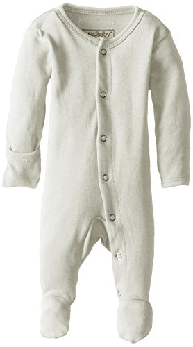 L'ovedbaby Unisex-Baby Organic Cotton Footed Overall, Stone NB/Preemie (4-7 lbs.)