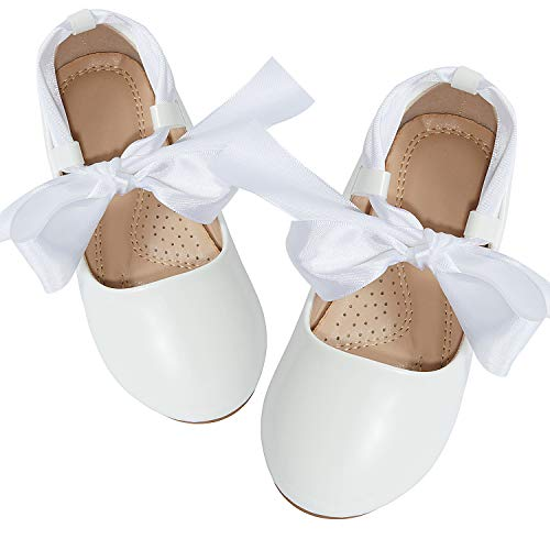 ADAMUMU Dream Toddler Girls Dress Shoes Ballet Flats Flower Girls Shoes Glitter Shoes Party School Dress Shoes Even Daily Wear, F-white, 8M US Toddler?165mm]()