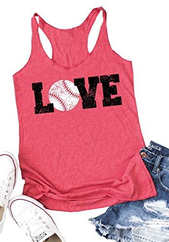 (Baseball Tank Tops Women Love Letter Print Vest Sleeveless Baseball Graphic Print T Shirt Size L (Red))