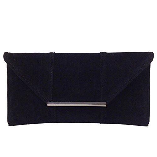 Faux Microsuede Envelope Clutch, Black