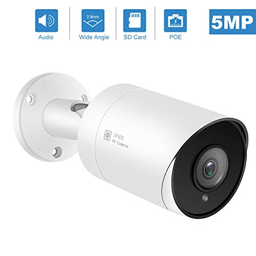 (Hikvision Compatible) Anpviz 5MP Outdoor Bullet POE IP Camera with Microphone Audio Wide Angle Security Camera Outdoor Indoor, 2.8mm Lens?Motion Detection,98ft, SD Card Slot