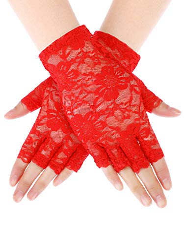Skylety Sunblock Fingerless Bridal Lace Gloves Short Floral Gloves for Women (Red 1)